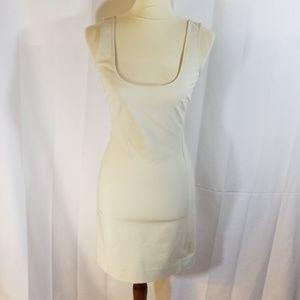 Auth Prada cream scoopneck sheath dress sz 40